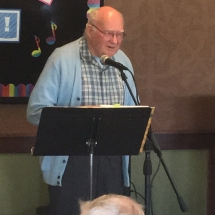 Karaoke Show-Inver Glen Senior Living-gentleman showing off his vocals